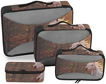 トラベル ポーチ 旅行用 収納ケース 4点セット トラベルポーチセット アレンジケース スーツケース整理 森 馬柄 収納ポーチ 大容量 軽量 衣類 トイレタリーバッグ インナーバッグ