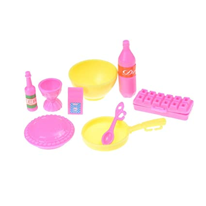 Amazon Com Uhomey Set Of 9 Pcs Dollhouse Furniture Mini Kitchen