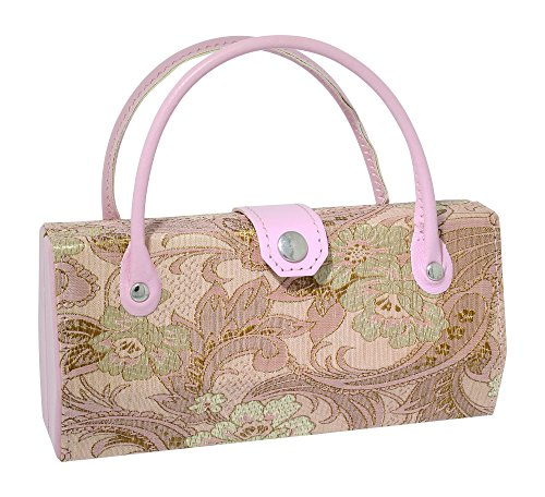 Asian Silk Brocade Style Eyeglass Case Mini Handbag Design Interior Mirror Pink