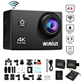 WiMiUS Action Camera 4K Wifi 16MP 2.0 inch Waterproof Sports Video Camera Car Helmet Camcorder Include 2pcs Batteries with Accessories Kits(Q1) (Black)