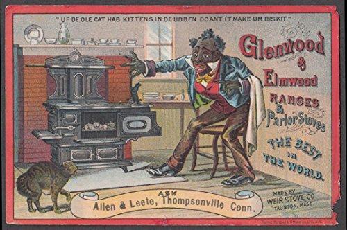 Glenwood Ranges Black Butler & Cat w/ kits in oven 1880s - Glenwood Range