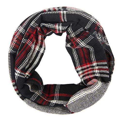 (MissShorthair Plaid Infinity Scarfs for Women with Zipper Pocket, Check Pattern Travel Scarf)