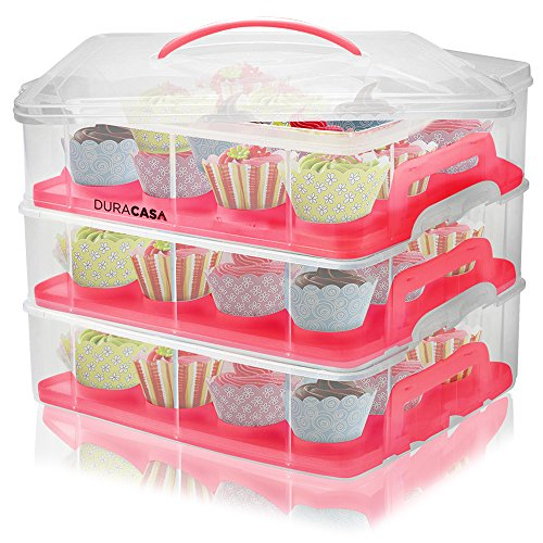 DuraCasa Cupcake Carrier | Cupcake Holder | Store up to 36 Cupcakes or 3 Large Cakes | Stacking Cupcake Storage Container | Cupcake, Cookie, Muffin or Cake Dessert Carrier (3 Tier Red)