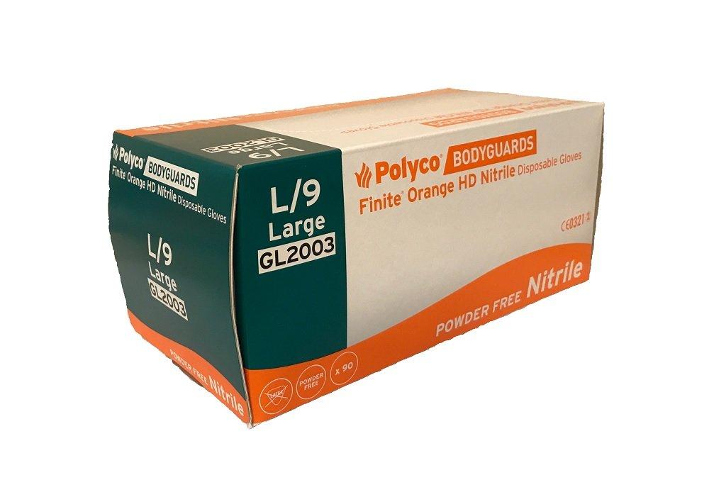 Bodyguards GL2001 Finite Orange HD Nitrile Gloves, 7/Small, Orange (Pack of 100) Polyco