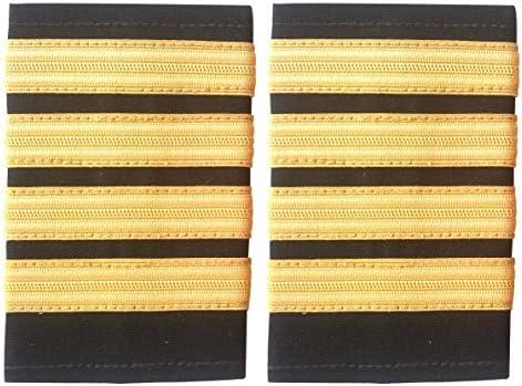 Schwarze Schulterklappen mit vier goldfarbenen Streifen, Piloten, Fluggesellschaft oder Marine, 2 Stück