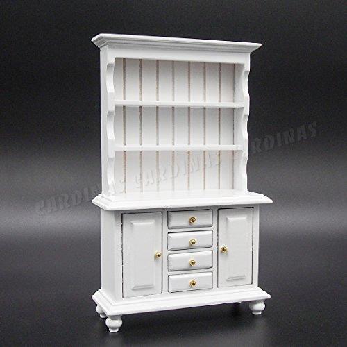 Odoria 1:12 Miniature Buffet avec Vitrine style classique, en bois Blanc Meubles de Maison de Poupées