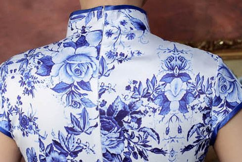 Blaue Femme Robe Crayon Large Blumen 2 Acvip 4RxPIqq