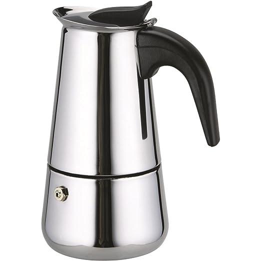 Grunkel - Cafetera italiana de 6 tazas en acero inoxidable para cocina de inducción, gas, eléctrica y vitrocerámica con apertura y mango de tacto ...