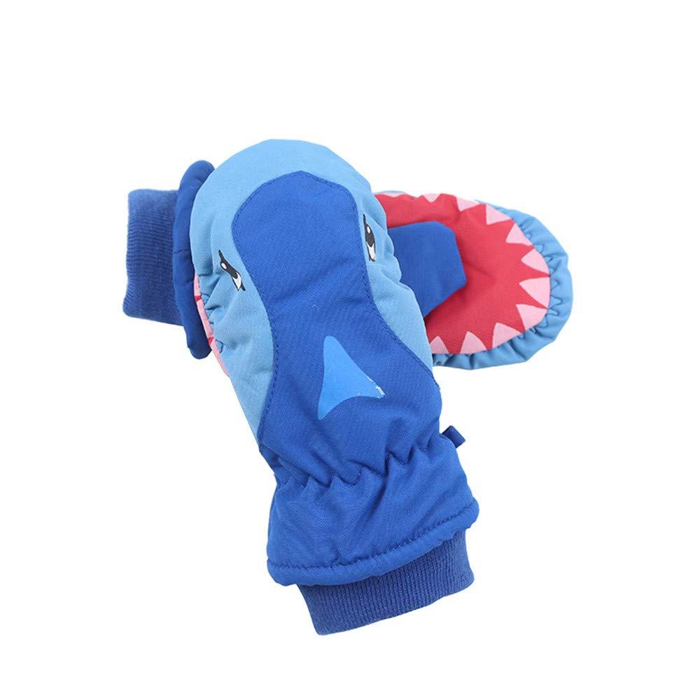 Jiusike Children Ski Thick Full Palm Waterproof Outdoor Sports Warm Shark Gloves