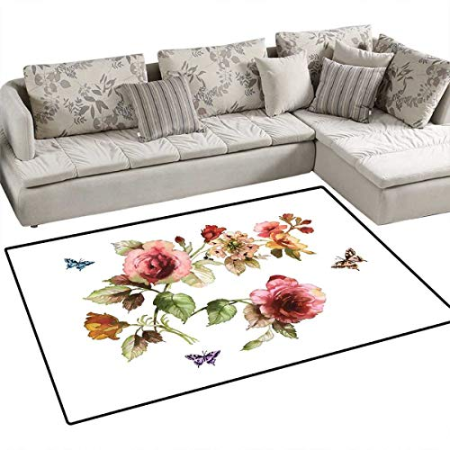 - Flower Girls Rooms Kids Rooms Nursery Decor Mats Shabby Chic Roses Buds Leaves Tulips Floral Details Butterfly Natural Eco Print Bath Mats for Floors 55