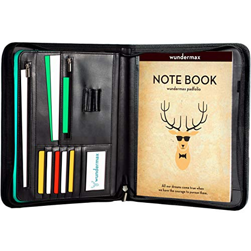 ortfolio with Bonus Writing Pad, Professional Interview PU Leather Padfolio with Zippered Closure, Interior 10.1 Inch Tablet Sleeve ()