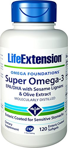Life Extension Super Omega-3 (Fish Oil) EPA/DHA with Sesame Lignans & Olive Extract, 120 Enteric Coated Softgels