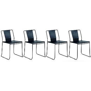 Miliboo lot de 4 chaises dextérieur design métal noir tenerife