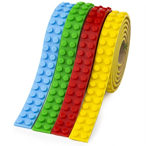 Building Block Tape For Kids  Lego Brick Compatible Building Block Silicone Tape Roll With 3M Adhesive Stripes  Perfect Toy Gift For Boys   Girls  Green Blue Red Yellow