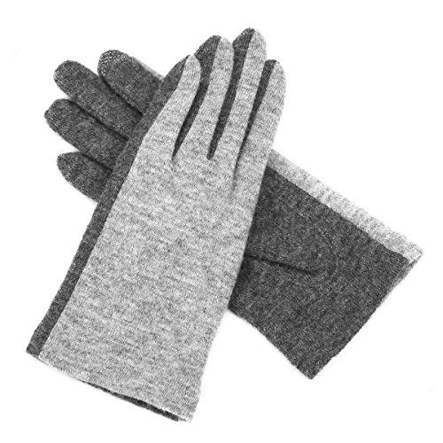 J & J Women Touchscreen Wool Gloves for Cold Weather Daily Commute Driving Walking Running Dog Walking (Gray) by J & J (Image #2)
