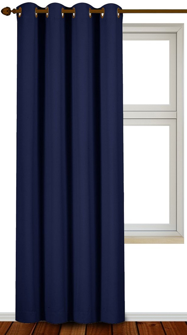 Blackout Room Darkening Curtains Window Panel Drapes - Beige Color 1 Panel, 52 inch wide by 84 inch long each panel, 8 Grommets Rings per panel, 1 Tie Back included - by Utopia Bedding UB0090