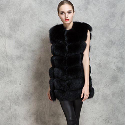 CRAVOG Black Fur Winter Outwear Vest Women Lady Warm Waistcoat Faux Coat r1Tr7