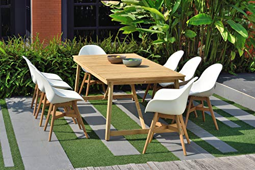 - Amazonia Coral 9 Piece Patio Dining Set | Table Made of 100% Teak Durable and Ideal for Outdoors, White
