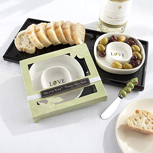 (Kate Aspen Olive You Olive Tray & Spreader - Set of 6 - Guest Gift, Party Souvenir, Party Favor or Decorations for Weddings, Bridal Showers, Baby Showers & More)