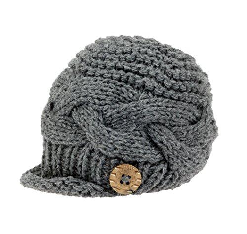 Boy knit Brimmed Newborn Photography Hat Cap Small Grey ()