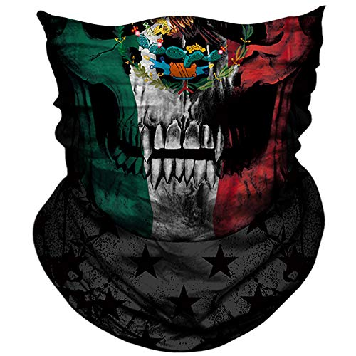 AXBXCX 3D Skull Skeleton Neck Gaiter Face Mask for Hunting Fishing Motorbike Motorcycle Running Cycling Hiking Skateboard Skiing Powersports Halloween Party Music Festivals Raves Pl180881 ()