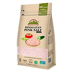 Himalayan Chef 100% Natural Himalayan Pink salt, 1 lbs Extra fine Grains, Delicious Taste,Pure Gourmet Crystals - Nutrient and Mineral Best for Health - Kosher and Natural Certified Salt
