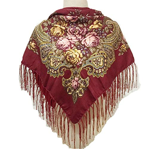 Scarf Women Cotton Vino Flowers Per Knitted rosso Winter Amdxd 110cm Autumn 4aExqwggn5