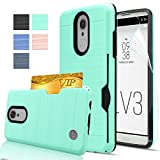 LG Aristo / Phoenix 3 / Fortune / LG LV3 / K8 2017 / MS210 / M210 Case with HD Screen Protector,AnoKe [Card Slots Holder][Not Wallet] Shockproof Heavy Duty Case for LG LV3 KC2 Mint