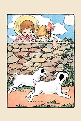 (Two little children reach down from a stone wall trying to touch the two puppies running by An illustration from a series of childrens books which came free with the Public Ledger newspaper Poster Pr )