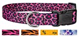 25 - Country Brook Design Pink Leopard Print Deluxe Dog Collars - Extra Large