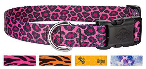 Country Brook Design 10 - Pink Leopard Print Deluxe Dog Collars - Large