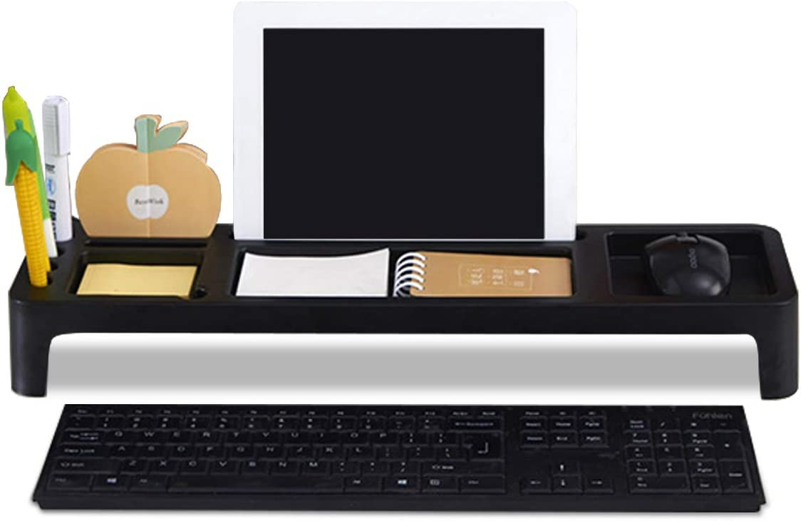 MARSACE Desk Organizer Office Small Objects Storage Saving Organiser Anti Dust Shelf Over Keyboard for Smartphone Tablet Stationeries Black