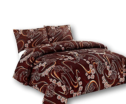 Tache Home Fashion Tache 3 Piece Melted Gold Brown Floral Duvet Cover Set, Cal King, California, Chocolate