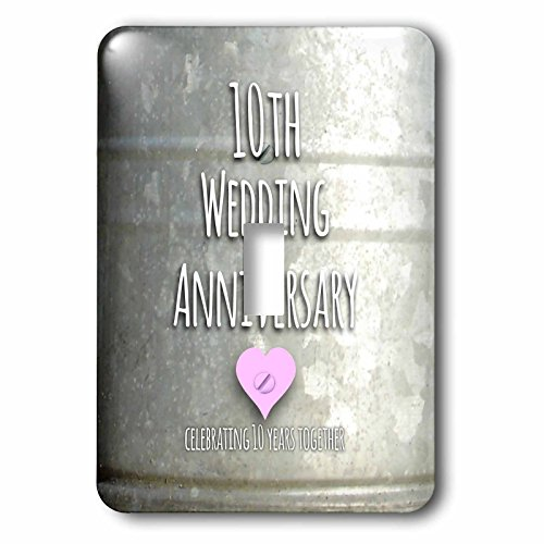 3dRose LLC lsp_154441_1 Tenth Wedding Anniversary Gift Tin Celebrating 10 Years Together Tenth Anniversaries Ten Years Single Toggle Switch