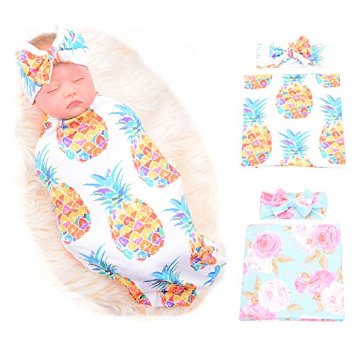 Galabloomer Newborn Receiving Blanket Headband Set Flower Print Baby Swaddle Receiving Blankets (Pineapple Flower)