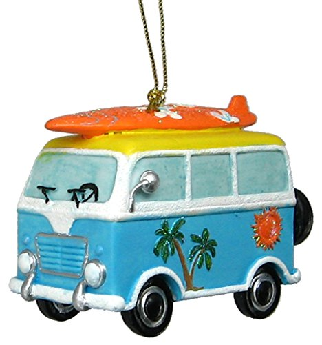 Chesapeake Bay Beach Van Ornament with Surfboard On Roof Rack Hanging Ornament