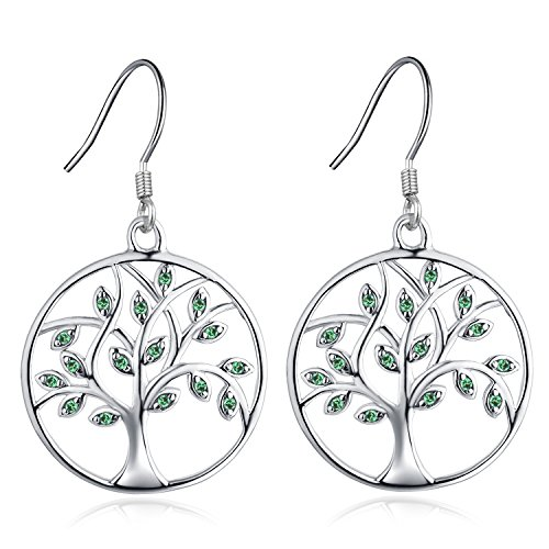 (YL Tree of Life Dangle Earrings Sterling Silver Circle Drop Earring Created Emerald Green Jewelry)