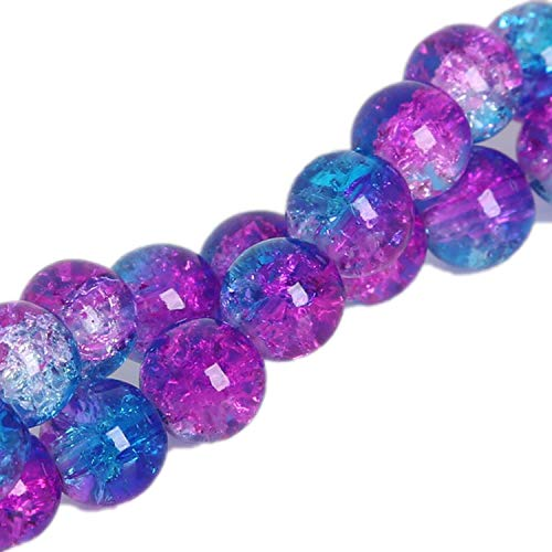 - Two-Tone Round Glass Crackle Beads Loose Spacer Beads for Jewelry Making DIY Bracelet Necklace,Double Color