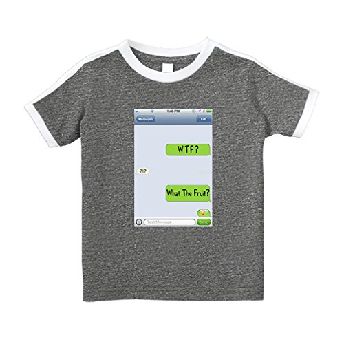 Cute Rascals Text Messages WTF? Answer What Fruit? Cotton Short Sleeve Crewneck Unisex Toddler T-Shirt Soccer Tee - Granite Heather, (Answer Short Sleeve T-shirt)