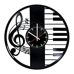 Music Vinyl Records Wall Clock - Treble Clef Piano Clock Wall Art Room Decor Handmade Decoration Party Supplies Theme Stuff Birthday Gift for Kids Adults Men Women Vintage Modern Style