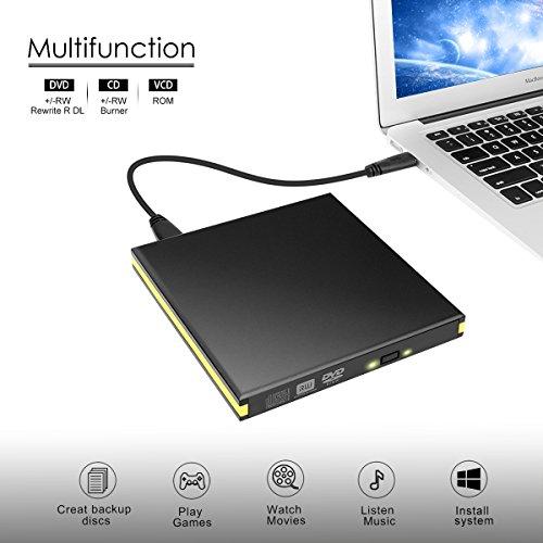 USB 3.0 External DVD Drive, BEVA Portable CD DVD Drive Player External Burner Reader Writer Disk for Laptop Desktop Macbook Mac OS Windows 10 8 7 XP Vista by BEVA (Image #4)