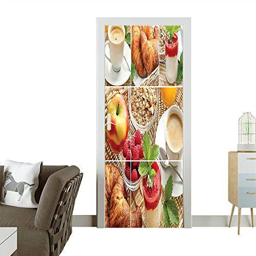 Dinner Oatmeal (Art Door Stickers with Coffee Croissants Orange Juice Fresh Strawberry Yogurt Oatmeal Photo Door Decals for Home Room DecorationW35.4 x H78.7 INCH)