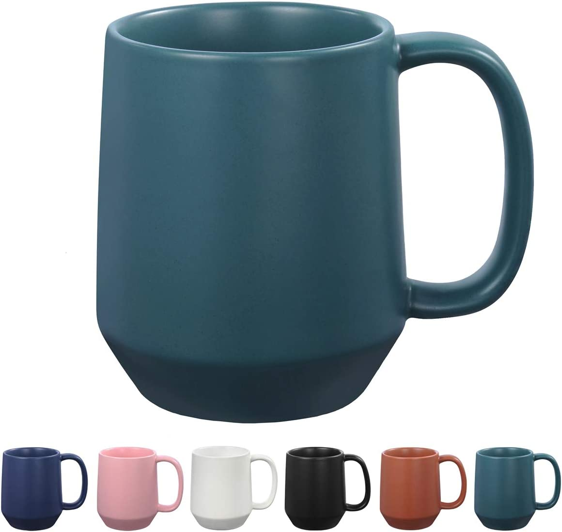 Miicol 16 oz Large Ceramic Coffee Mug, Tea, Mulled Drinks Cup, Gift for Office Staff or Home Using, Microwave and Dishwasher Safe, Frosted Surface, Turquoise