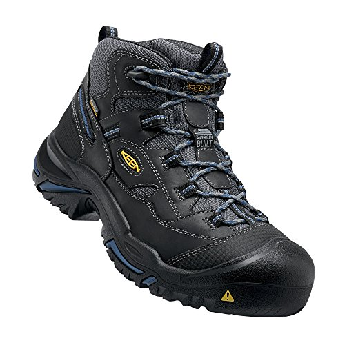 KEEN Utility - Men's Braddock Mid (Soft Toe) Waterproof Work Boot, Raven/Estate Blue, 11 D]()