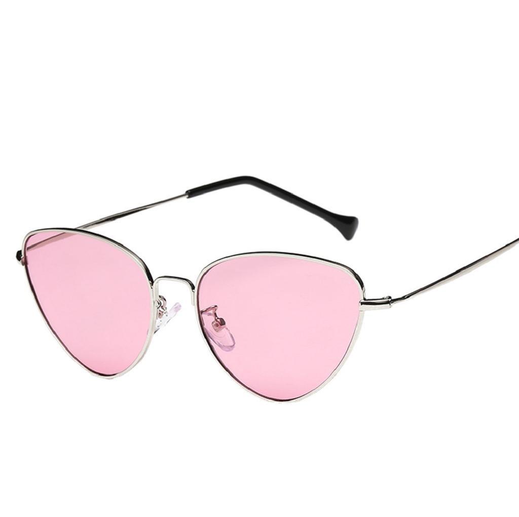 VIASA Women Men Summer Vintage Cat Eye Glasses Unisex Fashion Aviator Travel Sunglasses (Pink, Gold)