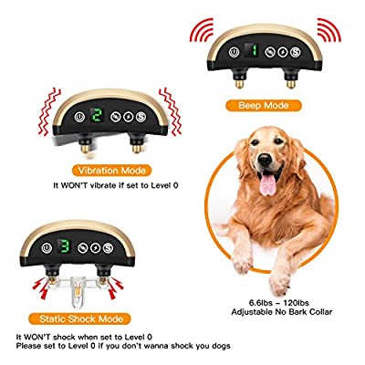 Bark Collar, Folksmate Upgrade 7 Sensitivity Dog Training Collar [2018 Upgrade Version] , USB Rechargeable Waterproof No Bark Collar with Vibration and No Harm Shock for Small Medium Large Dog
