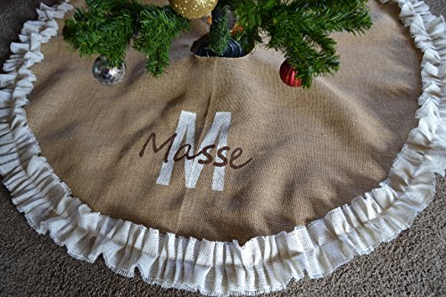 Burlap Christmas tree skirt Monogrammed, Cream Double Ruffle