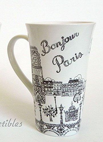 222 Fifth Bonjour Paris French France Eiffel Tower Latte Mug