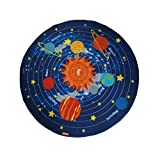 JACKSON Non Slip Kids Play Rug Early Education Children Carpet Washable Microfiber Fun Area Soft Floor Mat with Non-Skid Rubber Backing 32'' Round Multi-Color (PLANET)