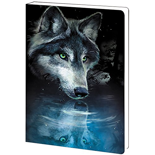 Tree-Free Greetings, Soft Cover Journal Notebook, 160 Lined Pages, 5.5 x 7.5 x 0.75 Inches, Wolf Reflection  (JR89270) (Tree Free Journal)